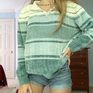 blue striped pullover
